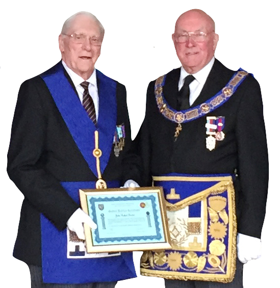 WBro Bob Beeton receiving his Golden Jubilee certificate from the PGM